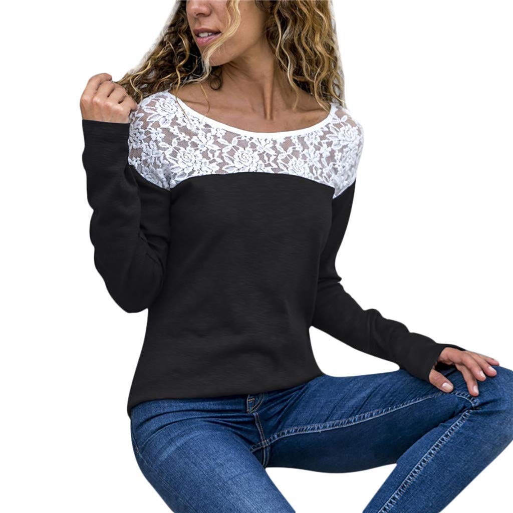 Lmx+3f Fashion Women Casual Lace Patchwork Blouse Tops Scoop Neck Long Sleeve T-Shirt Loose Soft Comfy Top Black