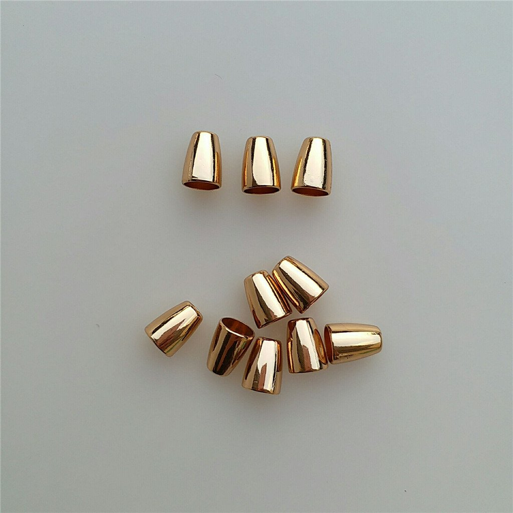 Baoblaze 20 Pieces 4mm Cord Ends Stopper Bell Stoppers for Paracord Shoes Garment Accessories Gold Silver