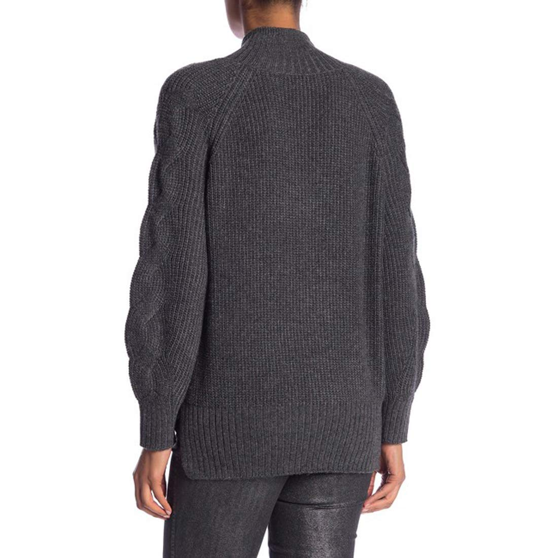 Laundry by Shelli Segal Mock Neck Cable Sleeve Sweater Heather Grey X-Large