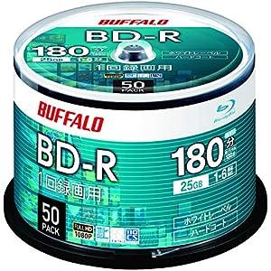【Amazon.co.jp限定】 バッファロー ブルーレイディスク BD-R 1回録画用 25GB 50枚 スピンドル 片面1層 1-6倍速 ホワイトレーベル RO-BR25V-050PW/N