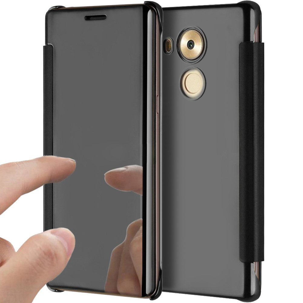 PHEZEN Huawei Mate 8 Case, Luxury Mirror Makeup Case Plating PU Leather Flip Protective Cover [Kickstand Feature] Magnetic Closure Full Cover Case for Huawei Mate 8 (Black)