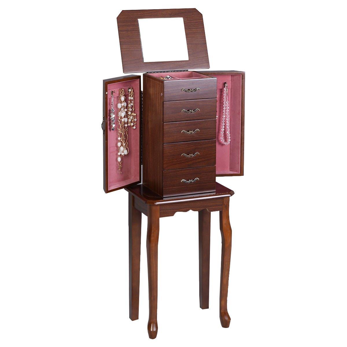 Wood Chest Organizer Accessory Stand Classic Mirror Armoire Jewelry Cabinet Storage Box