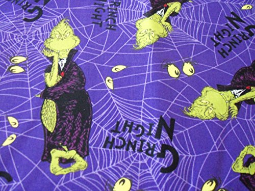 Halloween Grinch Night Fabric Purple Background By The Fat Quarter BTFQ New ()