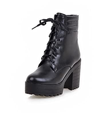 Women's Solid Pu High Heels Lace-Up Round Closed Toe Boots