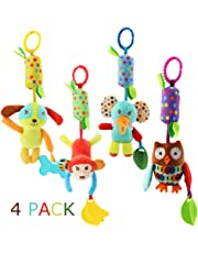 Baby Rattle Toys Soft Hanging Rattle Crinkle Squeaky Toy Infant Stroller Car Seat Crib Travel Activity Plush Animal Wind
