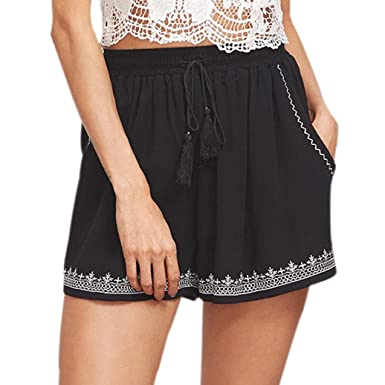 236ef8b955187 Brezeh Women Sport Shorts, Women Summer Tassel Floral Printed Hot Pants  Drawstring High Waist Casual Shorts Beach Short Pants Gray: Amazon.co.uk:  Clothing