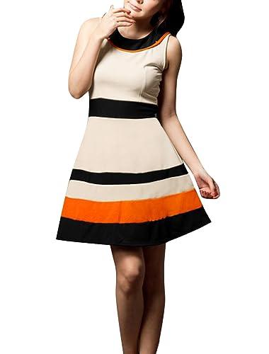Allegra K Women Contrast Color Sleeveless Round Neck A Line Dress
