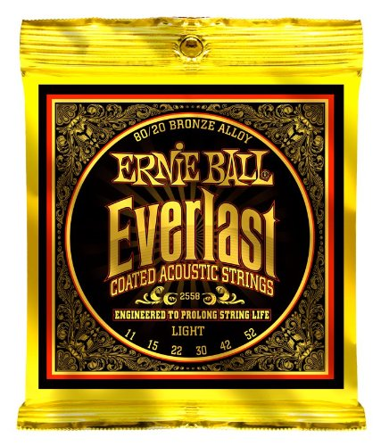 Ernie Ball Everlast Light Coated 80/20 Bronze  Acoustic Set,