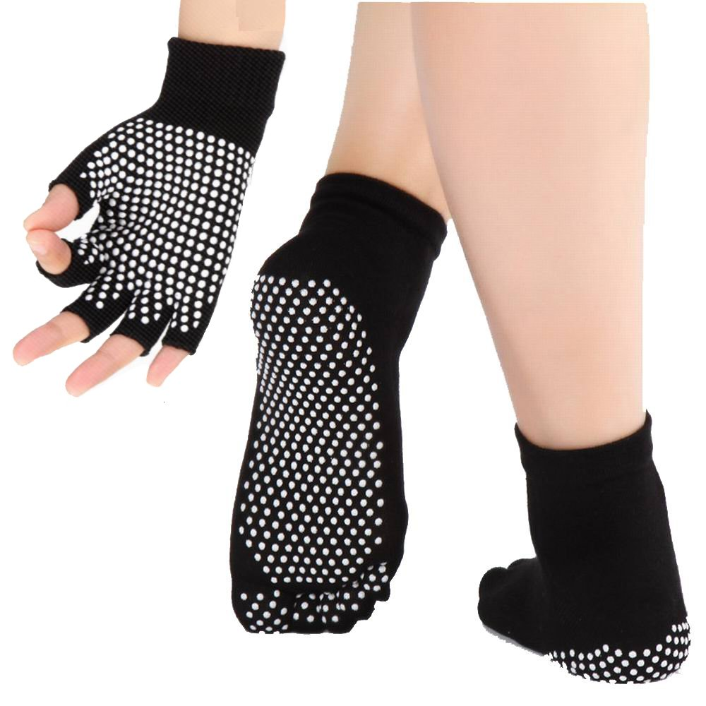 Calcetines y guantes de yoga de las mujeres con anti deslizamiento puntos de silicona no resbalar calcetines de ballet de danza para la yoga Pilates calcetines de fitness Mujer-NEGRO JJunLiM