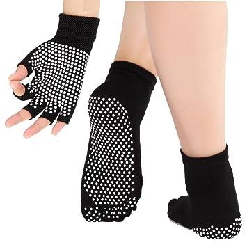 JJunLiM - Calcetines y Guantes de Yoga para Mujer con Puntos de sillicona Antideslizantes, Calcetines de Ballet de Danza Antideslizantes para Yoga, ...