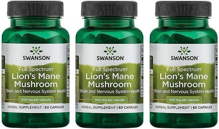 Swanson Lion's Mane Mushroom Memory Support Mental Focus Brain Booster Herbal Supplement Hericium Erinaceus (Mycelium Biomass) 500 mg 60 Capsules (3 Pack)