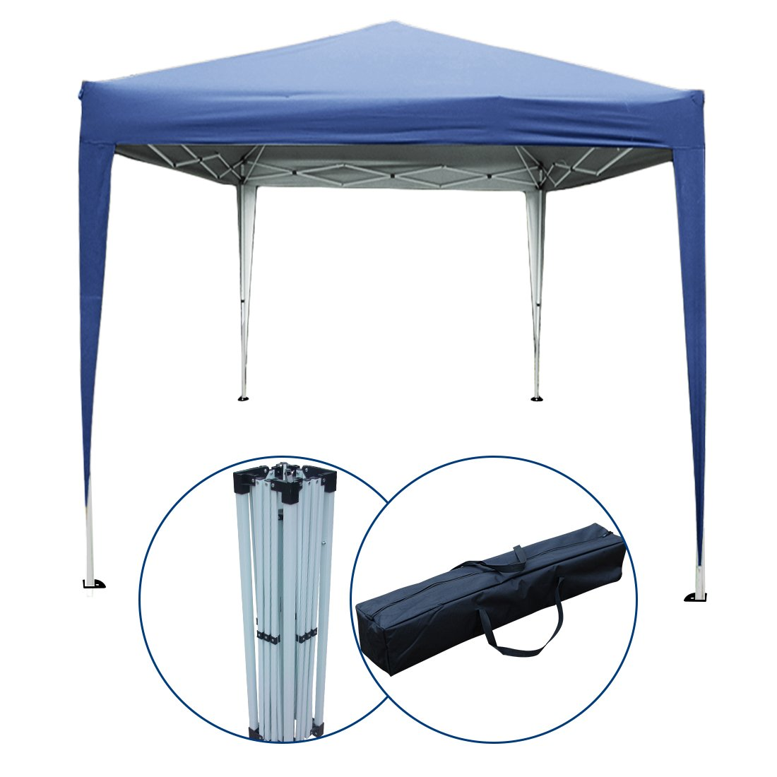 PeakTop 10 x10 Feet EZ Pop Up Canopy Tent Gazebo Party Tent Instant Commercial Tent Beach Sun Shade With Carry Bag 100% Waterproof-5 Colors (Navy Blue)