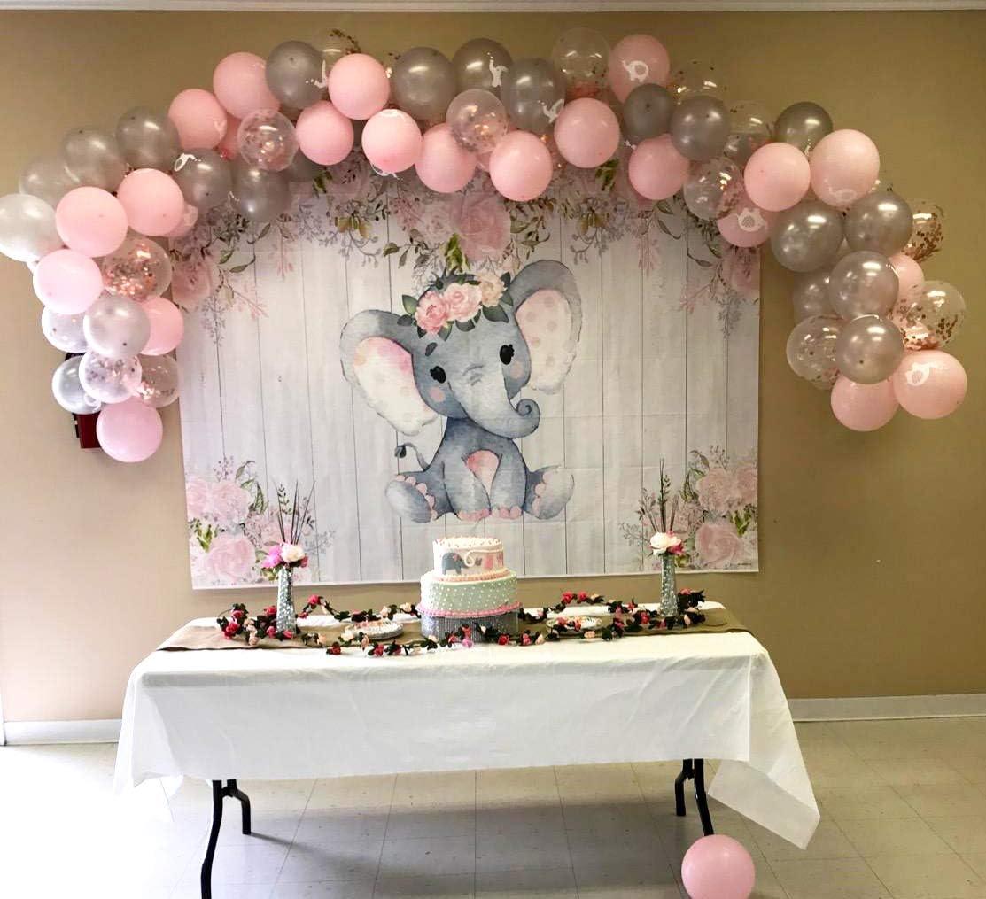 Elephant Confetti Baby girl party decoration Babyshower decoration Party decoration Balloons confetti Hearts confetti