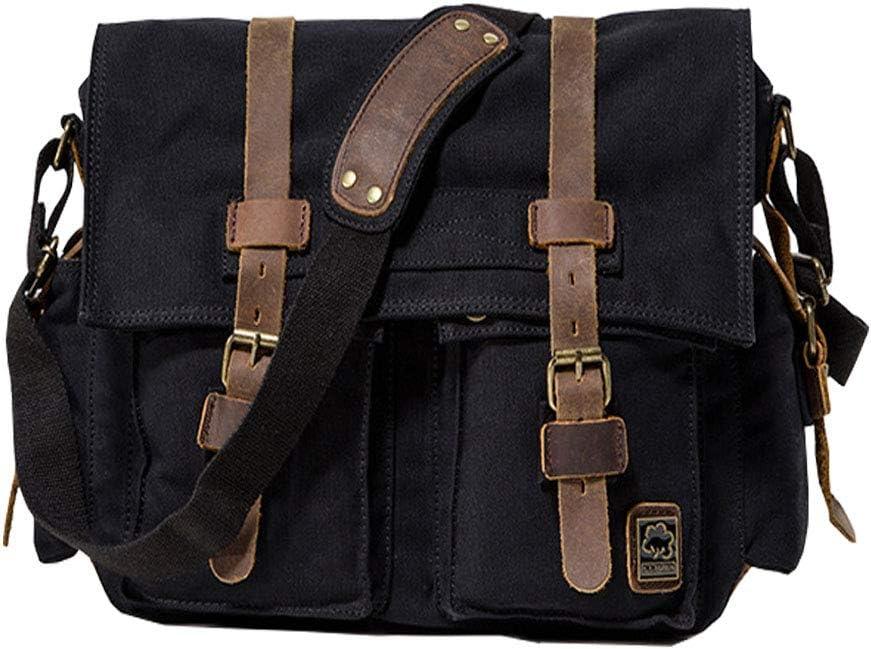 "Jonon Vintage Military Men Canvas Messenger Bag for 13.3-17"" Laptop (Size 13.3"", Black)"