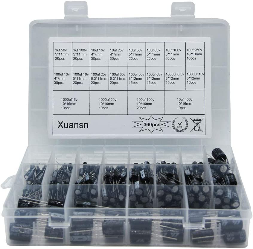 Electrolytic Capacitor 360Pcs 20Value, XUANSN Aluminum Capacitor Kit Range 1uF 10uf 100uf 1000uF, 6.3V10V 16V 25V 35V 50V 63V 100V 250V 400V, for Air Conditioning, LED Lights, Audio, Induction Cooker