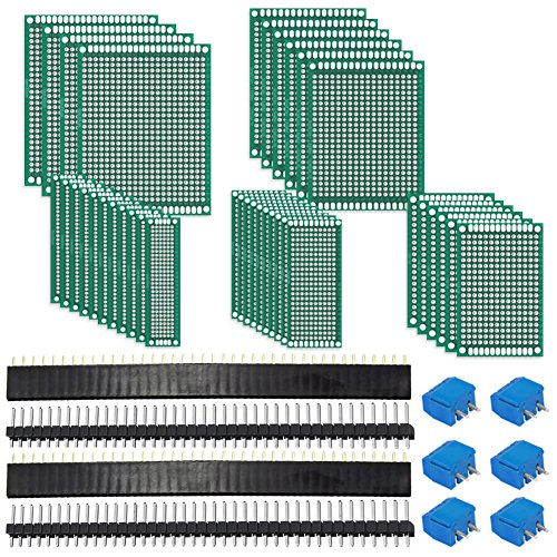 Designing Pc - Paxcoo 62Pcs PCB Board Kit Includes 32Pcs Double Sided Prototype Boards, 20Pcs Header Connector and 10 Pcs Screw Terminal Blocks