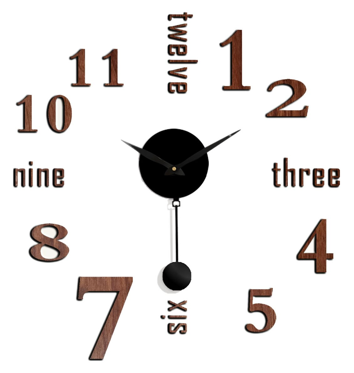 Clever Creations Faux Brown Wood DIY Battery Powered Adhesive Pendulum Wall clock - 25'' x 25''
