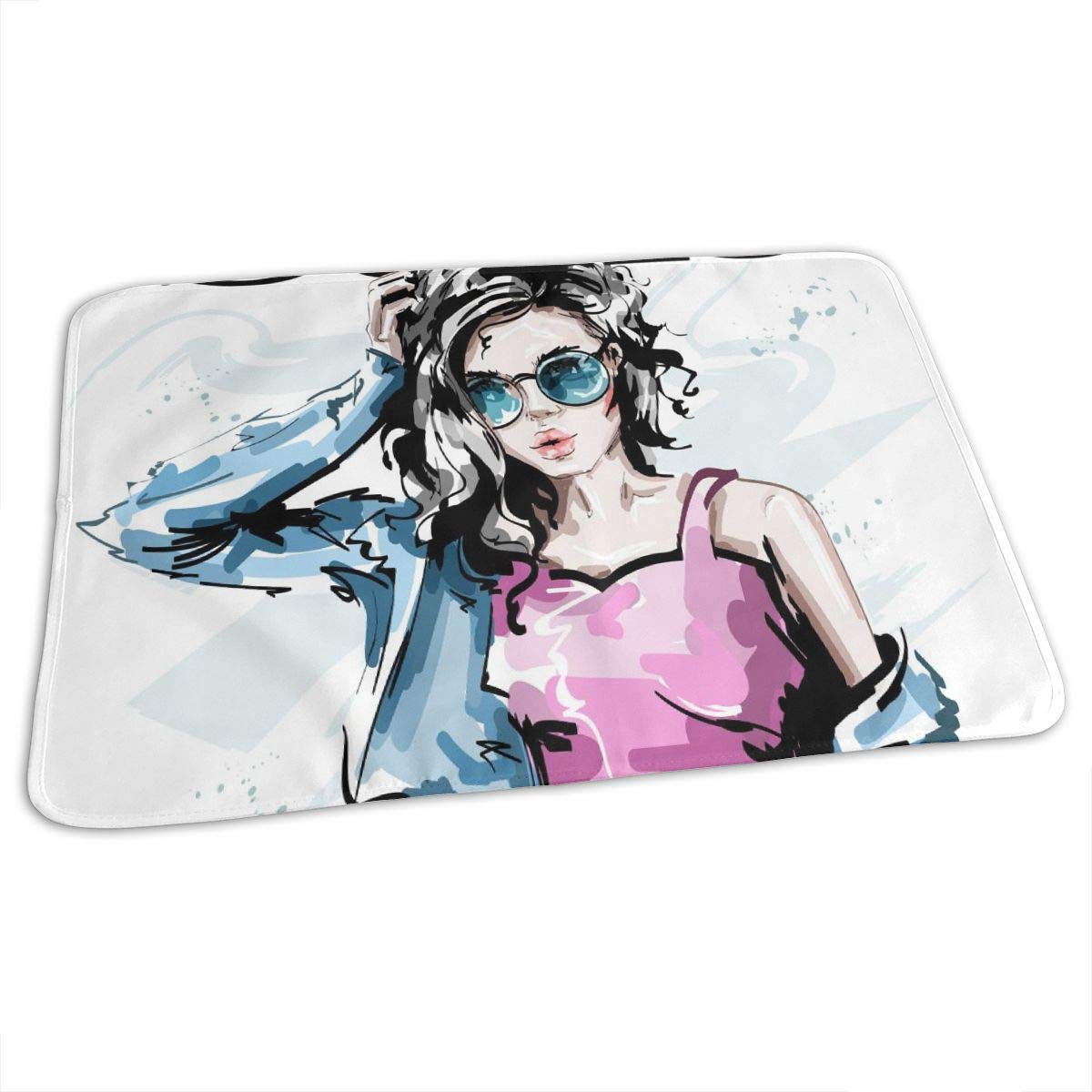 Osvbs Lovely Baby Reusable Waterproof Portable Fashionable Elegant Girl in Jeans Jacket - My Style Changing Pad Home Travel 27.5''x19.7'' by Osvbs