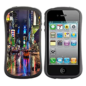 "Pulsar iFace Series Tpu silicona Carcasa Funda Case para Apple iPhone 4 / iPhone 4S , Broadway Street Ciudad de Nueva York Luces de lluvia"""