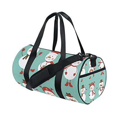 Gym Bag Christmas Cartoon Snowman Sports Travel Duffel Lightweight Canvas Bags