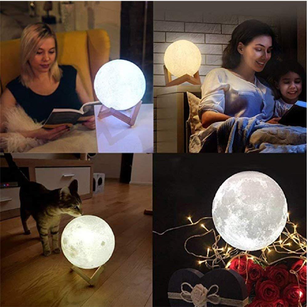 Kundenspezifisches 3D-Druck-Mondlicht USB-Auflademond-Nachtlicht 12CM Personalisiertes Foto-Nachtlicht