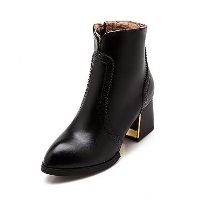 Women's Kitten Heels Soft Material Low-top Solid Zipper Boots