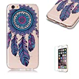 """For iPhone 6 Plus 5.5"""" Case [with Free Screen Protector],Funyye Soft TPU Gel Case Cute Simple [Colorful Painting Pattern] Ultra Slim Flexible Protective Skin Back Cover for iPhone 6 Plus 5.5"""" - Blue Dreamcatcher"""