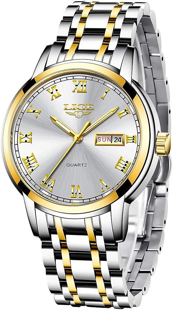 LIGE Relojes Hombre Acero Inoxidable Impermeable Deportes Analógico de Cuarzo Hombres Reloj Calendario Dorado Negro Relojes Hombre
