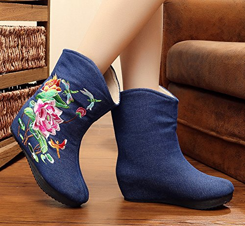 Avacostume Vrouwen Lotus Borduurwerk Sleehak Platform Booties Blauw