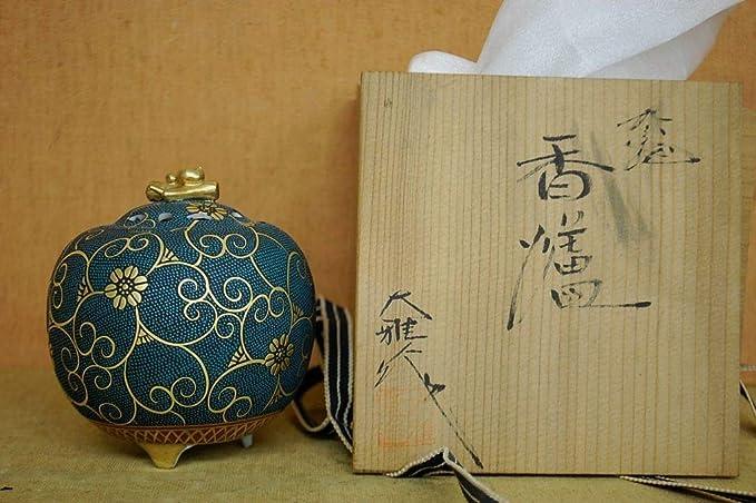 香炉 青粒本金鉄仙 九谷 大雅 IG26S23 古商品