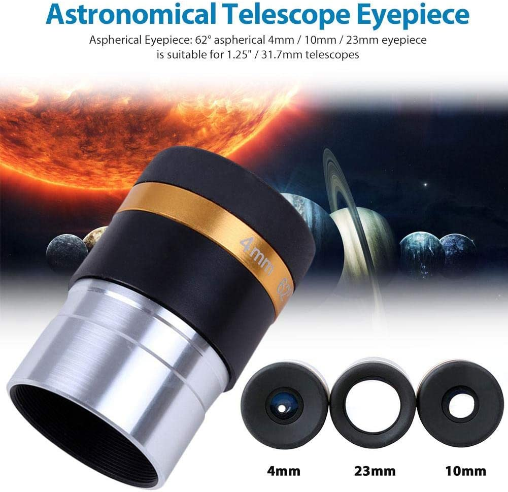 for 1.25 Inch 31.7mm Astronomy Telescope Aspheric Eyepiece 62 Degree Lens 4//10//23mm Accessories rowna Telescope Wide Degree Lens