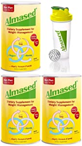 Almased Meal Replacement Shake - Plant Based Protein Powder - Shake for Weight Management - 3 pack plus Blender - Bundle - 17.6oz x 3