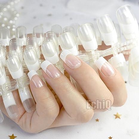 echiq al por mayor 10 Conjuntos de cristal claro color blanco francés uñas falsas Transparente Manicura