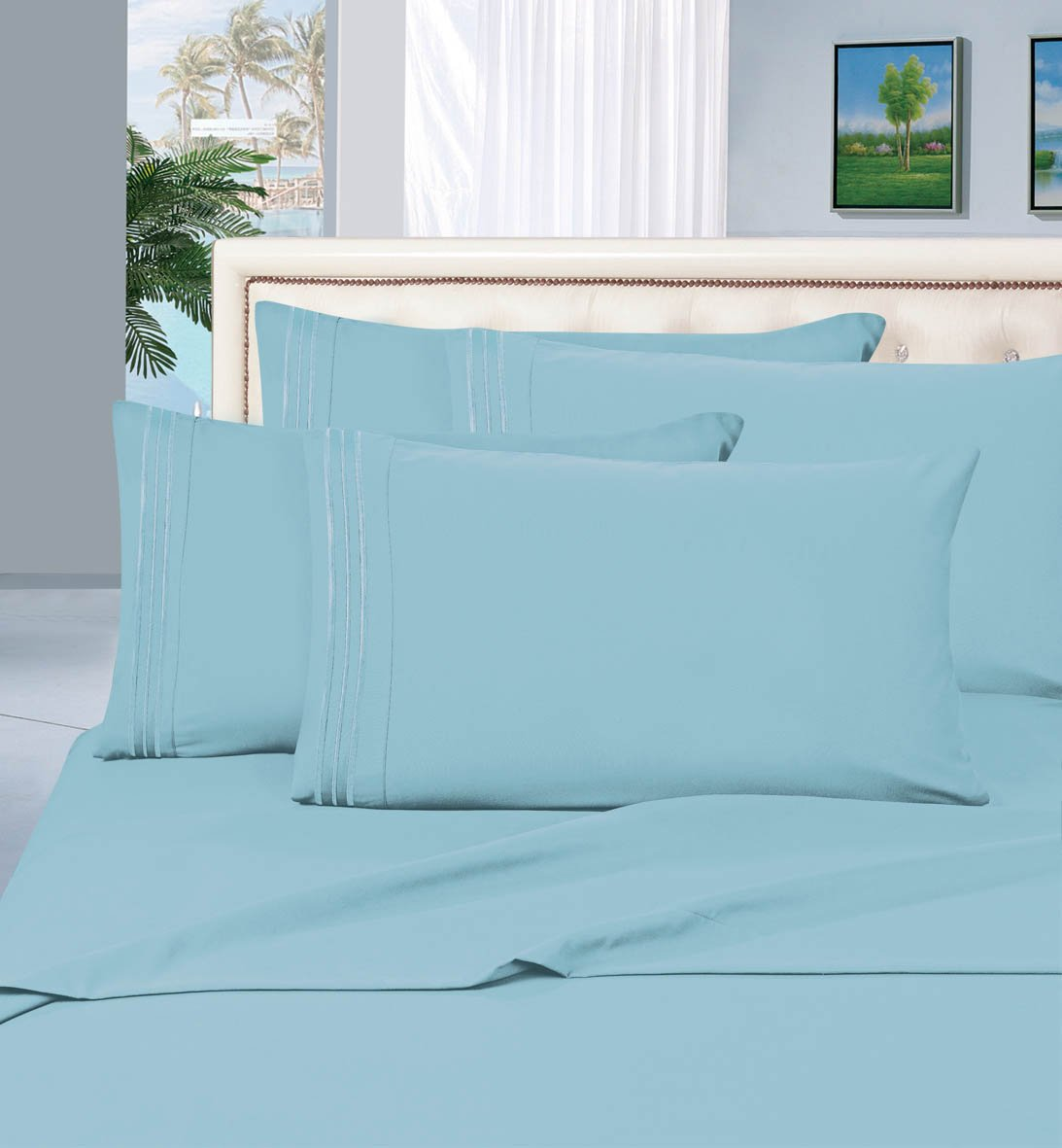 Elegant Comfort 1500 Thread Count Egyptian Quality Wrinkle,Fade and Stain Resistant 4-Piece Bed Sheet Set, Deep Pocket, HypoAllergenic, California King, Aqua