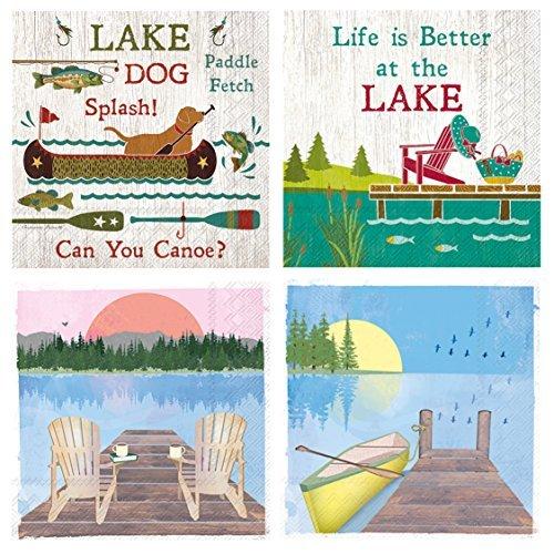 Boston International 20 Count 3-Ply Paper Cocktail Napkins, Set of 4 Lake & Canoe Themes