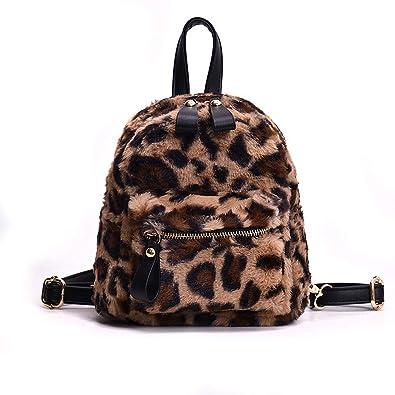 5cd39e12769 Amazon.com  YSMYWM Women Leopard Print Faux Fur Backpacks School Bags Mini  Daypack Soft Plush Shoulder Bag Rucksack (Brown)  Shoes