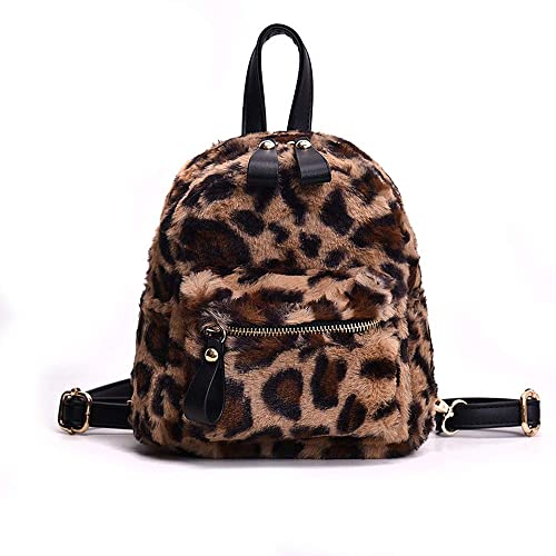 Amazon.com  YSMYWM Women Leopard Print Faux Fur Backpacks School Bags Mini  Daypack Soft Plush Shoulder Bag Rucksack (Brown)  Shoes a5f47bfc7f66