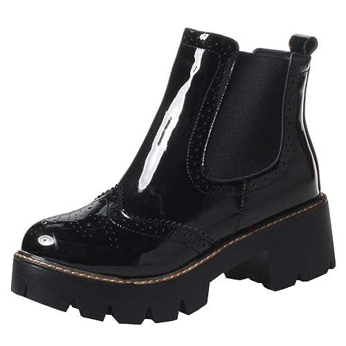 Artfaerie Damen Plateau Chelsea Boots Lack Stiefeletten mit Blockabsatz 5cm Absatz Bequem Freizeit Schuhe
