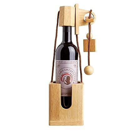 Puzzle botella de madera fina y clara – Caja regalo para botellas de vino - versión