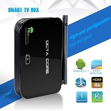 YUNTAB Amdroid TV Box Octa-Core Android 5.1 RK3368 CPU Smart TV Box (Mini PC), 2160P Salida Full HD HDMICON Quad-Core Mail-T6X Series GPU 2GB RAM, 16GB ROM,HDMI, DLNA WiFi,RJ45,3D,Bluetooth 4.0 (Z4): Amazon.es: