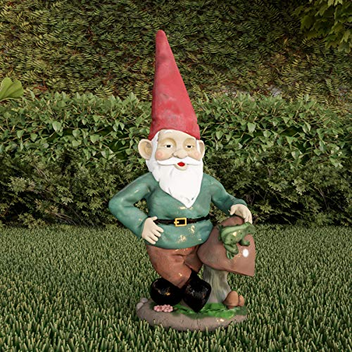Pure Garden 50-LG1099 Lawn Gnome Statue-Fun Classic Style Resin Figurine for Outdoor Decor for Flower Beds, Fairy Gardens, Backyards and More