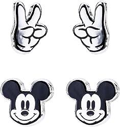 SIX Disney Adults, Micky Maus und Peace Finger 2 Paar Ohrstecker in Silber für Kinder und Erwachsene (761-354)
