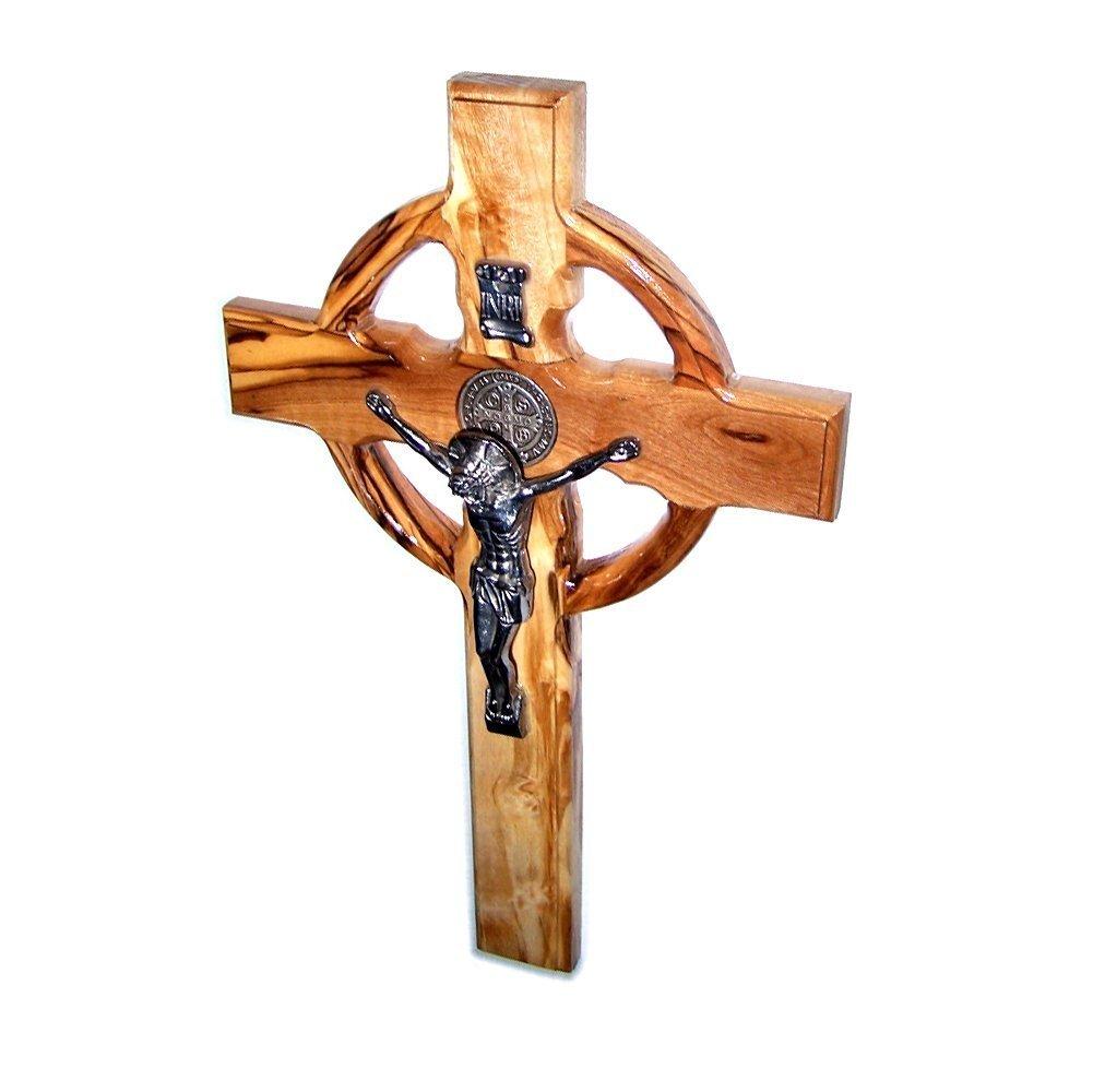 Holylandmarket - Croce celtica di San Benedetto, in legno, realizzata a mano, da parete, placcata in argento, 25,40 cm