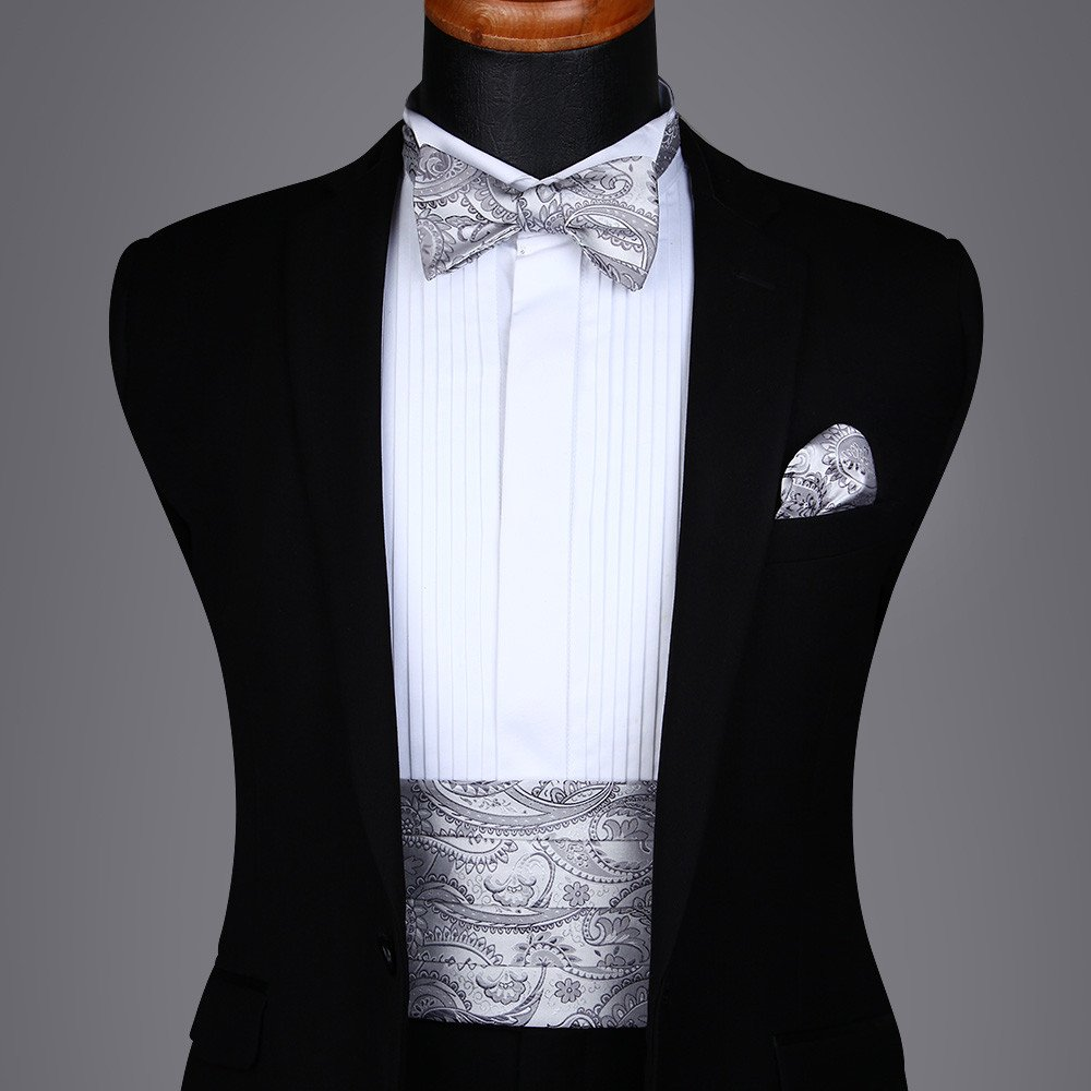 Men's Formal Cummerbund & Bowtie & Pocket Square Set-Various Colors and Patterns CP804LS