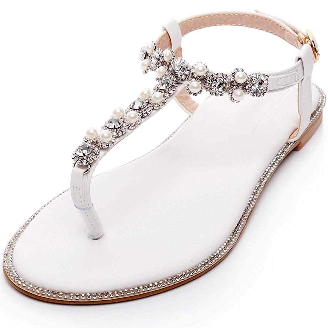 ff44a688fc241 YOOZIRI Beach Wedding Shoes,Wedding Flats Women Shoes,Flat Sandals With  Rhrintestone Pearls and crystals-BE-01