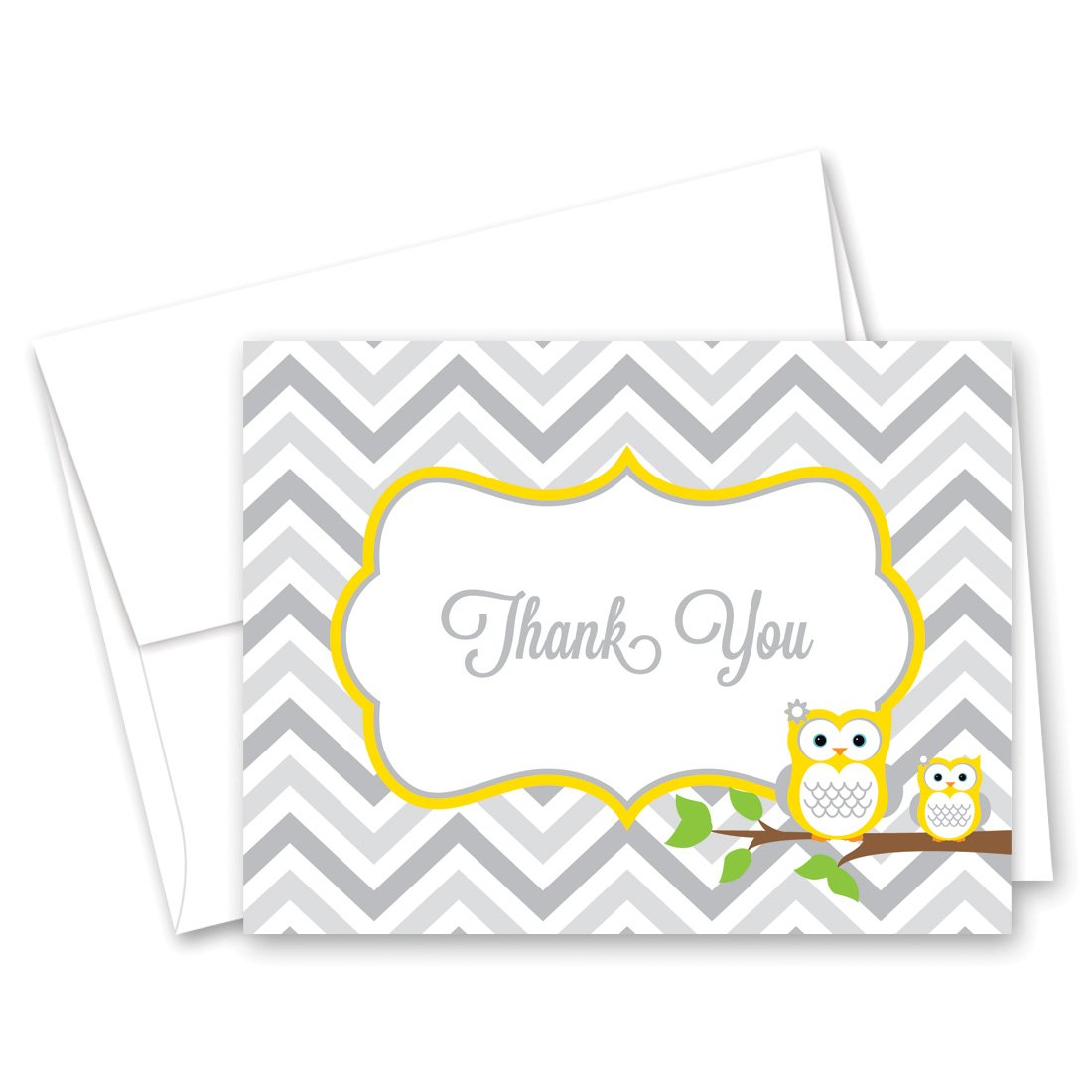 50 Cnt Yellow Owl Baby Thank You Cards