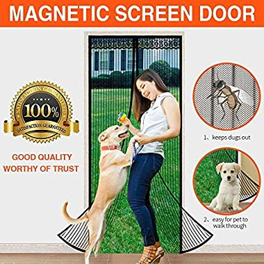 LOOCH Magnetic Screen Heavy Duty Mesh Curtain and Full Frame Velcro Fits Door Size up to 36-83 Max- Black