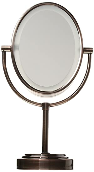 Amazon.com : Conair Oval Shaped Double-Sided Lighted Makeup Mirror, 1x/7x  magnification, Oiled Bronze Finish : Personal Makeup Mirrors :