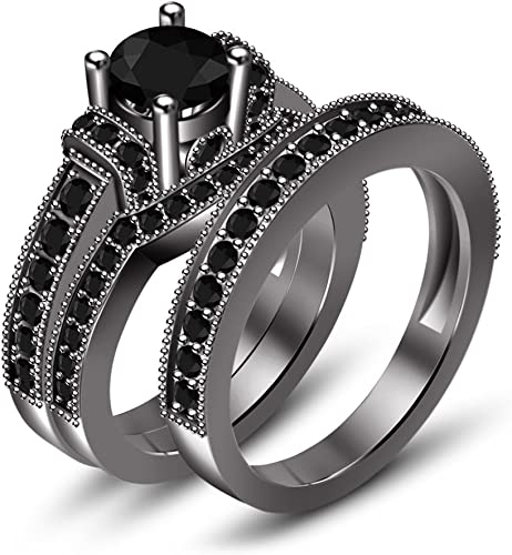 TVS-JEWELS Black Rhodium Plated 925 Sterling Silver Round Cut Black CZ Mens Band Wedding Ring