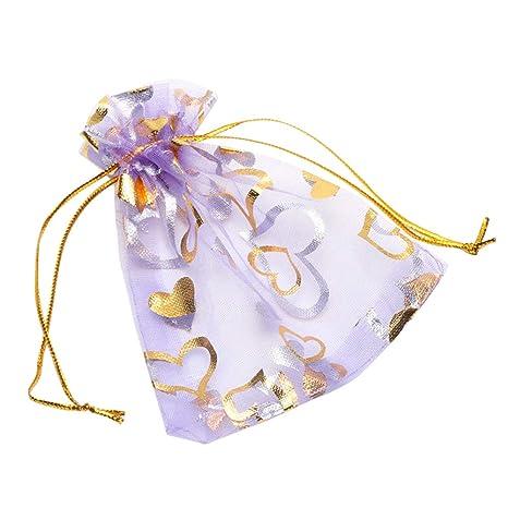 YFZYT 100 Piezas Bolsas de Organza Bolsitas de Tul para Regalos Joyas Bodas Tansparente - 9x12 CM, Púrpura